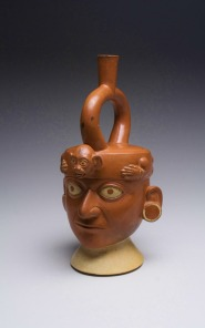 Moche Stirrup Spout Vessel - Lord Wearing Monkey Headdress North Coast Peru, circa A.D. 100-200 (Courtesy of Leonard Kalina Fine Arts)