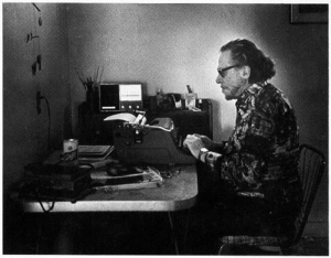 Charles Bukowski at his typewriter in 1988. (Photo by Joan Levine Gannij)