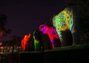 Illuminated elephants at the L.A. Zoo.