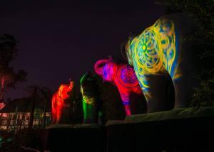 Illuminated elephants at the L.A. Zoo.