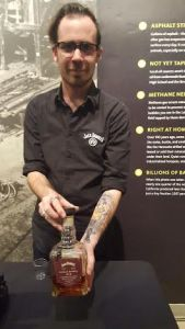 Max Ehrlich shows off a bottle of Jack Daniels Barrel Proof